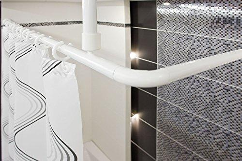 Tropik home Shower Curtain Rail/Rod, 4 way use, L or U shape with ceiling mount and semi-open ring (White)