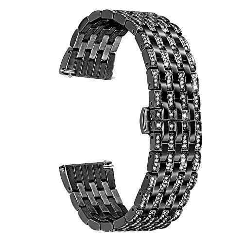 TRUMiRR 22mm Crystal Rhinestone Diamond Watch Band Quick Release Stainless Steel Wrist Strap for Samsung Gear S3 Classic Frontier, Gear 2 Neo Live, Moto 360 2 46mm, Asus ZenWatch 1 2 Men, Pebble Time