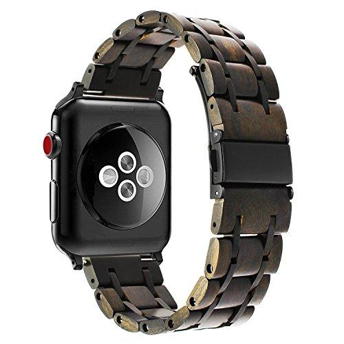 TRUMiRR For Apple Watch 42mm Wooden Watchband, Natural Wood & Stainless Steel Watchband Wrist Strap Replacement Bracelet for iWatch 42mm Series 3 2 1 All Models