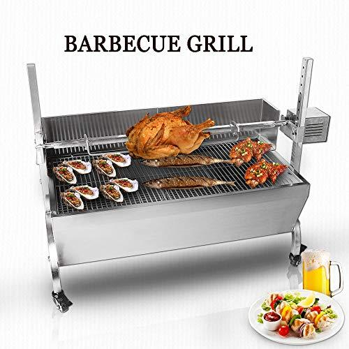 TRUSTME BBQ Rotisserie Grill Electric Roaster Outdoor Garden Party Large Fire Pit Bearing Lamb Spit Roaster Machine Picnic Camping Spit Roaster Trotter Roast Charcoal Pig Chicken