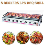 TRUSTME Commercial 8 Burners Gas BBQ Grills LPG Gas Griddle Barbecue Machine Stainless Steel Outdoor Barbecue Tools Large Grill (Glass shield, Sliver)