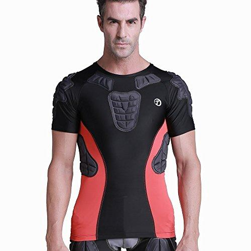 TUOYR Padded Compression Shirt and Short Sleeve Protective Shoulder Rib Chest Rib Thighs and Buttocks Protector Guard Baseball T-shirt Suit for Football Basketball Paintball Rugby Parkour Extreme
