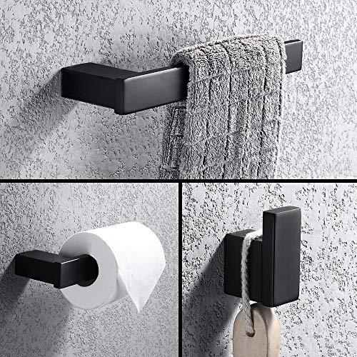 Turs 3-Piece Bathroom Accessory Set SUS 304 Stainless Steel RUSTPROOF Toilet Paper Holder Towel Bar/Holder Robe Hook Wall Mount, Matte Black Finish, N1008BK