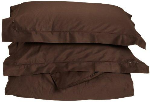 Tuscany Fine Italian Linens Milange 300 Thread Count Egyptian Cotton Full/Queen Duvet Cover Set, Chocolate Brown