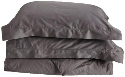 Tuscany Fine Italian Linens Milange 300 Thread Count Egyptian Cotton King Duvet Cover Set, Dark Grey