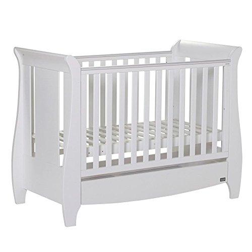 Tutti Bambini Katie White Sleigh Mini Cot Bed - Converts from Cot Bed to Toddler/Junior Bed & Sofa Bed