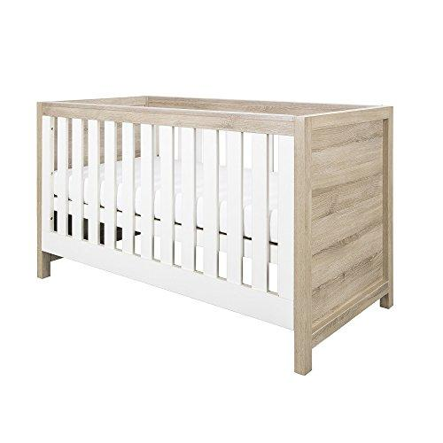 Tutti Bambini Modena White & Oak Cot Bed - Converts from Cot Bed to Toddler/Junior Bed & Sofa Bed