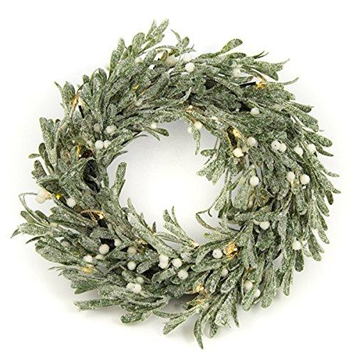 tutti decor led mistletoe christmas wreath 42cm round battery light up