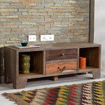 TV lowboard TV Stand Solid Wood and Taarbek Recycled Wood, Old Wood, Retro Beige Brown Width: 1340 MM; Depth 40 cm Height 50 cm