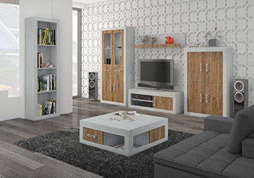 "TV Wall Unit, TV Table Set, Living Room Set ""VERIN 10"" TV Bench, Free Standing Display Units, Wall-mounted Shelve and Coffee Table. (Craft White/Craft Gold)"