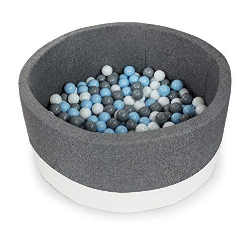 Tweepsy Soft Baby Kids Play Round Ball Pool Pit 300 Balls 90x40cm Handmade EU - BKOE2N - eco-grey pool: white, grey, sky blue