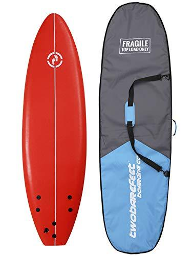 "Two Bare Feet MD Foamy Surfboard 6ft, 7ft, 8ft + Travel Boardbag - Adult's & Kid's Soft Surfboards ... (6' Red + 6'6"" Bag)"