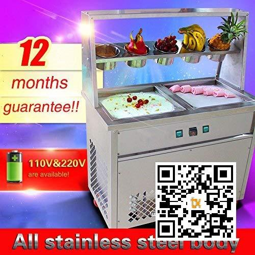 TX® Fried Ice Cream Machine 1600W Commercial Fried Ice Cream Maker for Yogurt ice Cream roll with Double Square Pans Five Buckets Fried Ice Cream Roll Machine (110V/60HZ)