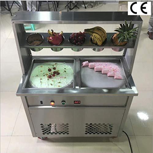 TX® Fried Ice Cream Machine 1600W Commercial Fried Ice Cream Maker for Yogurt ice Cream roll with Double Square Pans Five Buckets Fried Ice Cream Roll Machine (220V/50HZ Square pan)