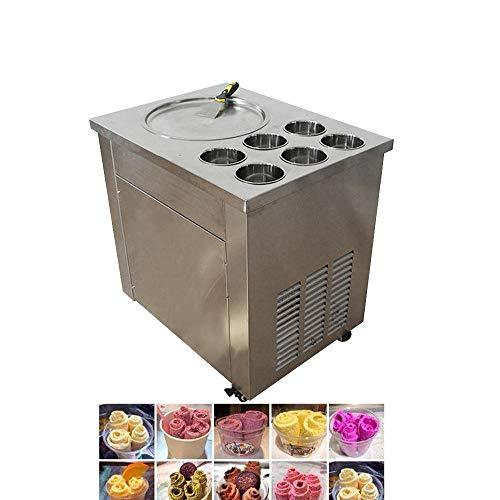 TX® Fried Ice Cream Machine Commercial Fried Ice Cream Maker for Yogurt with One Pan Six Buckets Fried Ice Cream Roll Machine for Bar Dessert Shop (220V/50HZ)