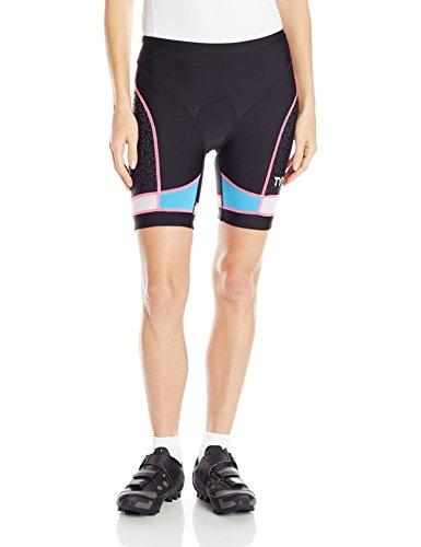 "TYR Women's 6"" Competitor Triangle Shorts, Black/Blue/Pink, Small"