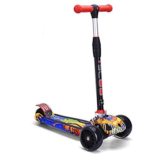 TYXHZL Outdoor scooter Scooter 3-10 Years Old Flash Wheel Durable Scooter One Second Fold Shock Absorber Luxury Riding Toy Balance Car,B
