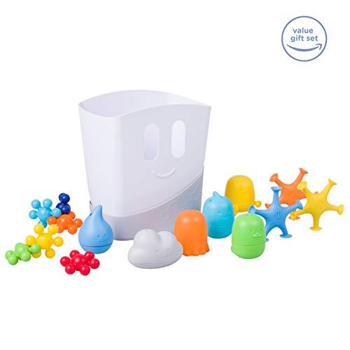 Ubbi Bath Toys and Drying Bin, Gift Set Contains 15 Kids Bath Toys and Bath Toy Drying Bin