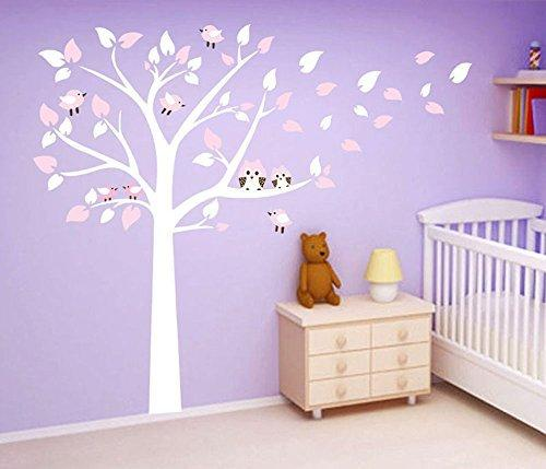 ufengke® Large Tree Cute Owls Wall Decals, Children's Room Nursery Removable Wall Stickers Murals White And Pink