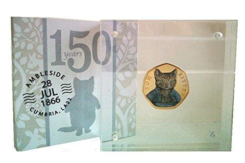 UK-Delightech 24K carat Gold Plated 2017 Brilliant Uncirculated Beatrix Potter The Tale Of Peter Rabbit Colored Decal Stickers BUNC 50p Fifty Pence Coin with Prespex Holder (Tom Kitten)