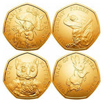 UK-Delightech BUNC Full Set of 2017 Beatrix Potter 24K carat Gold Plated 50p Fifty Pence Coin With Album
