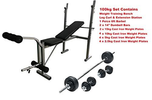UK Fitness Weight Training Set Barbell + Weights Bench Complete CAST IRON Multi Gym Set (100kg: Bench + Barbell + Cast Plates)