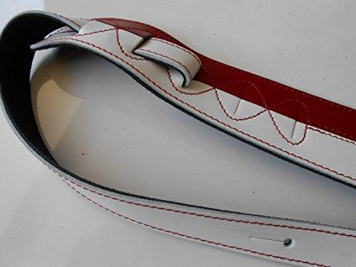 UK MADE RED & WHITE TWO TONE GENUINE LEATHER DELUXE ELECTRIC,BASS OR ACOUSTIC GUITAR STRAP