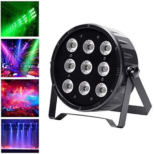 UKing Stage Lights, 90W LED Par Can RGBW 4 in 1 DJ Light DMX512 Sound Activated Strobe Mix Colors Washing Lighting Effect for Stage Party Club Disco Events (90W+Romote)