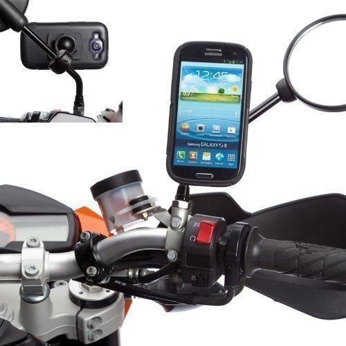 Ultimateaddons Hard Wire Powered Motorcycle 8-16mm Mirror Mount with Anti-Shock Case for Samsung Galaxy S3 i9300