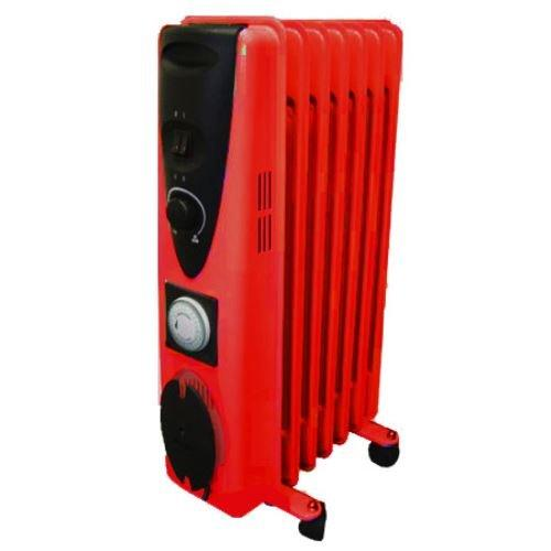 Ultramax Portable 7 Fin 1500W Electric OIL FILLED RADIATOR Heater With Timer & Thermostat - RED