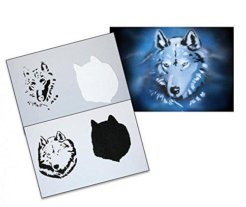 UMR-Design AS-086 Wolf head Airbrushstencil Step by Step Size XL