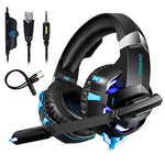 UncleHu Gaming Headsets Headphones for PS4 PC Laptop Mac Xbox One Nintendo Switch with Microphone, K2A Wired Stereo Over Ear Game Headphone with Deep Bass Surround Sound LED Lights&Noise-canceling