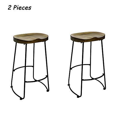 UNHO 1 Pcs Bar Stool Chair Industrial Style Wooden Breakfast Bar Stool with Black Metal Leg Vintage Rustic Frame Solid Wood Seat for Home Kitchen Island and Counter Furniture