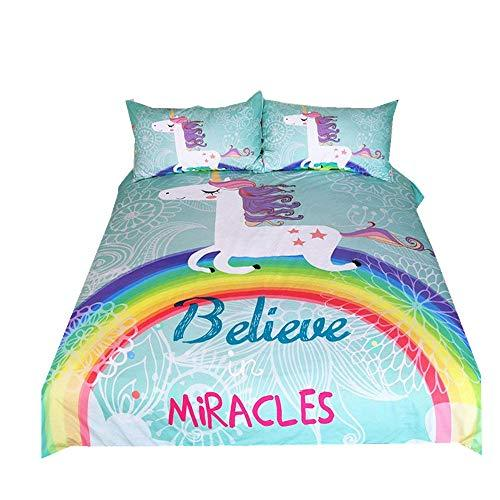 Unicorn Bedding Set King 220x240cm Cartoon Animal Pattern Quilt Cover with Pillowcases Modern Fashion Rainbow Unicorn Duvet Cover for Kids Girls