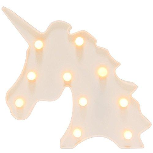 Unicorn LED Night Light White Unicorn Lamp Battery Operated Table Lamp Light for Party Supplies-Wall Decoration for Kids' Room,Living Room,Bedroom (White Unicorn)