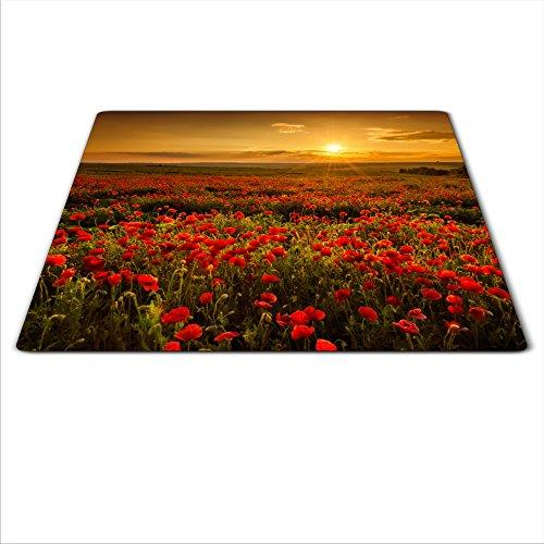 Universal Glass Board to Protect Stove deep Color HD Graphics, Dimensions: 60x52 cm, Theme: Poppy Seed, Colour: red