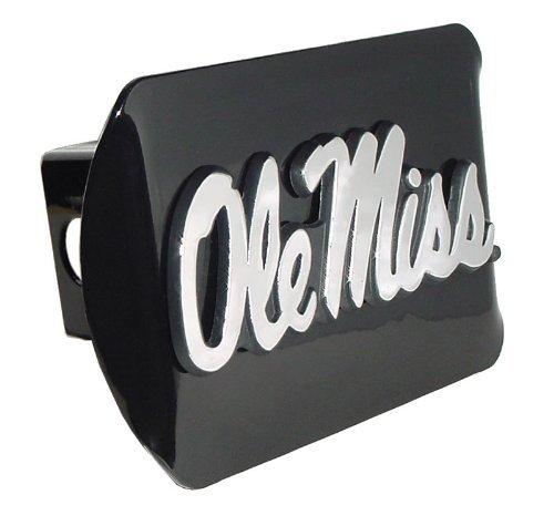 University of Mississippi Black with Chrome Ole Miss Script Emblem NCAA College Sports Trailer Hitch Cover Fits 2 Inch Auto Car Truck Receiver