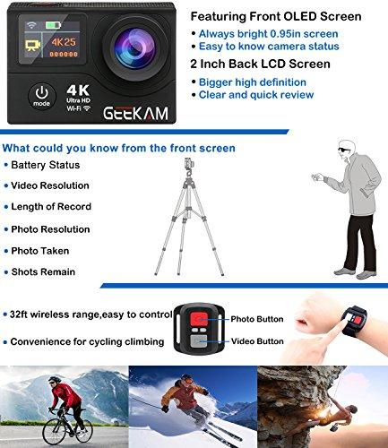 Upgraded 4K Sport Action Camera Cam with Dual Screen WiFi and Remote 30M Waterproof Camcorder with 170° Wide Angle Two Batteries 20 Mounting Kits for Cycle Helmet Bicycle Motorcycle Ski Snorkeling