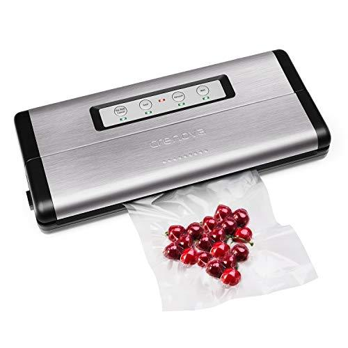 [Upgraded] Crenova VS100 Vacuum Sealer with Starter Kit, Metal Case, Manual Pulse Function with 10 Pcs Vacuum Bags