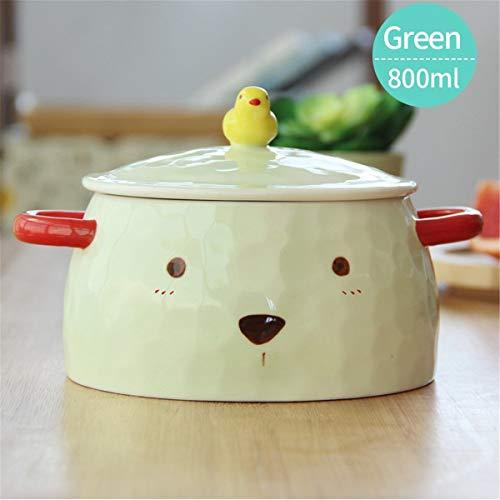 UPSTYLE Big Capacity Ceramic Soup Bowls 3D cute Animal Microwave for Instant Noodle/Salad/Fruit/Vegetable/Cereal Serving Casserole with Lid and handle (800ml Green Bear)