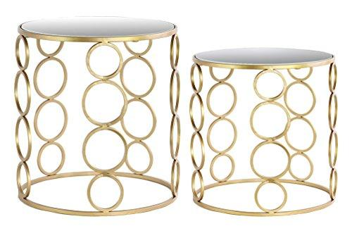 Urban Trends Metal Round Nesting Accent Table with Mirror Top, Stacked Circle Design and Round Base in Metallic Finish (Set of 2), Gold