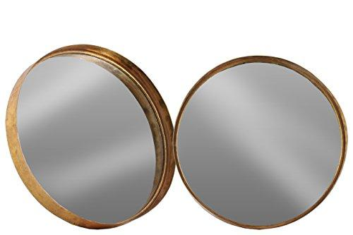 Urban Trends Metal Round Wall Mirror Set of Two Tarnished Finish, Antique Rose Gold