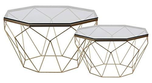 Urban Trends Octagonal Coffee Table with Glass Top and Lattice Design Body Set of Two Metallic Finish Champagne
