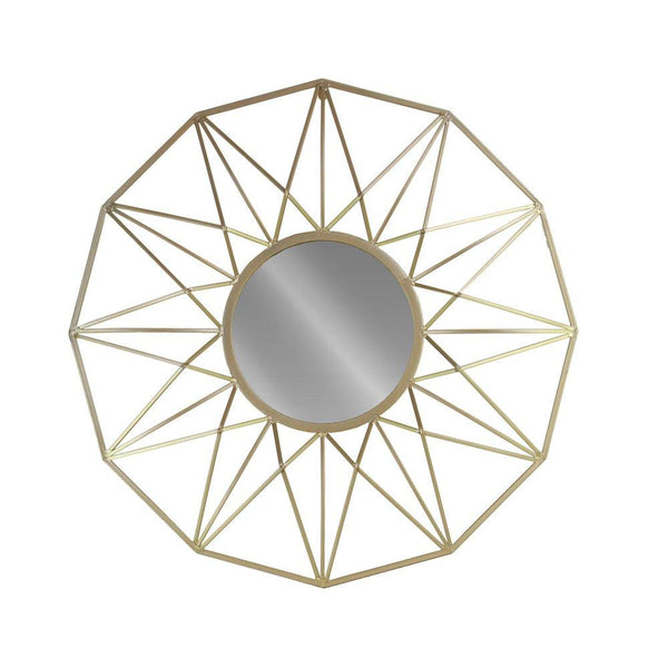 Urban Trends Round Wall Mirror with Starburst Design, Champagne