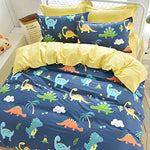Ustide 3-Piece Dinosaur Bedding Set Kids Duvet Cover Set 100% Cotton Bedding Set Double