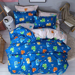 Ustide Kids Duvet Cover Pillowcase Bedding Set Boys Girls Dinosaur - Blue, Double