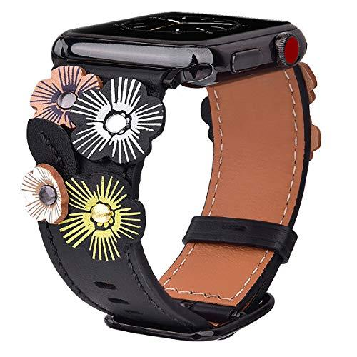 V-MORO Compatible for Apple Watch Strap 42mm/44mm Women, Soft Genuine Leather Replacement Band Strap Wristband Bracelet with Tea Rose Compatible for Apple Watch Series 4 3 2 1 (42mm, Black)