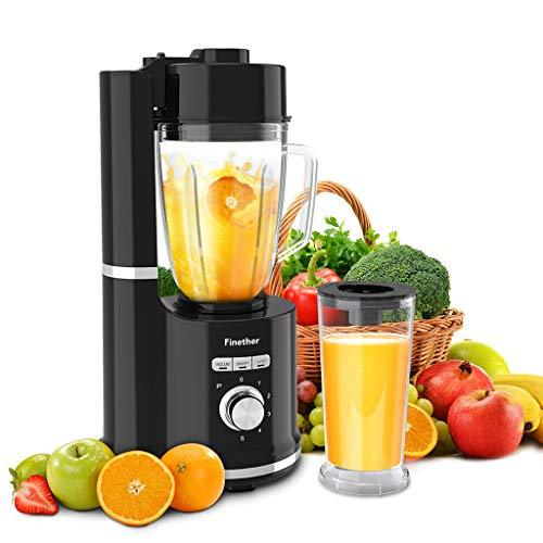 Vacuum Fruit Blender Smoothie Maker Juicier Jug Vegetable Blender│Ice Crusher│Anti-Oxidation│Auto with 500 ml Glass Jar│800 ml Measuring Cup│5 Speed│6 Blades by Finether