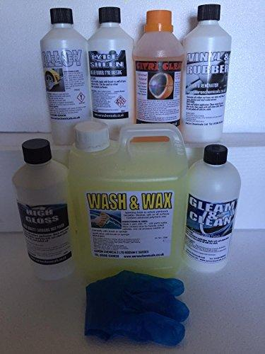 Valeting car care cleaning 8 pack, Including our best selling Tyre Dressing Tyre Sheen worth £9.79 valeting chemicals