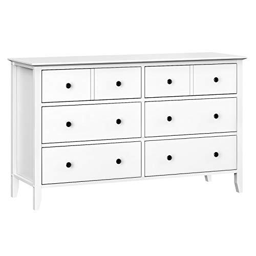 VASAGLE 6-Drawer Dresser, Chest of Drawers with Solid Wood Frame, Storage Unit for the Bedroom, Living Room, White RCD02WT